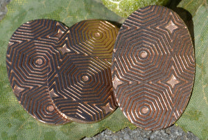 Oval 34mm x 22mm in Hexagon Pattern Blanks Shape for Enameling Stamping Textured - Variety of Metals
