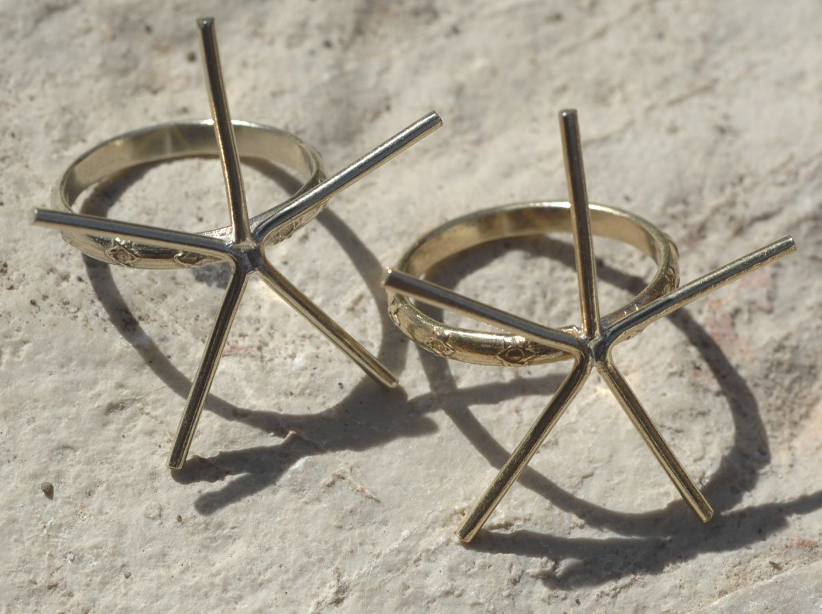Handmade Claw Ring Setting, Star pattern Shank, 5 prongs