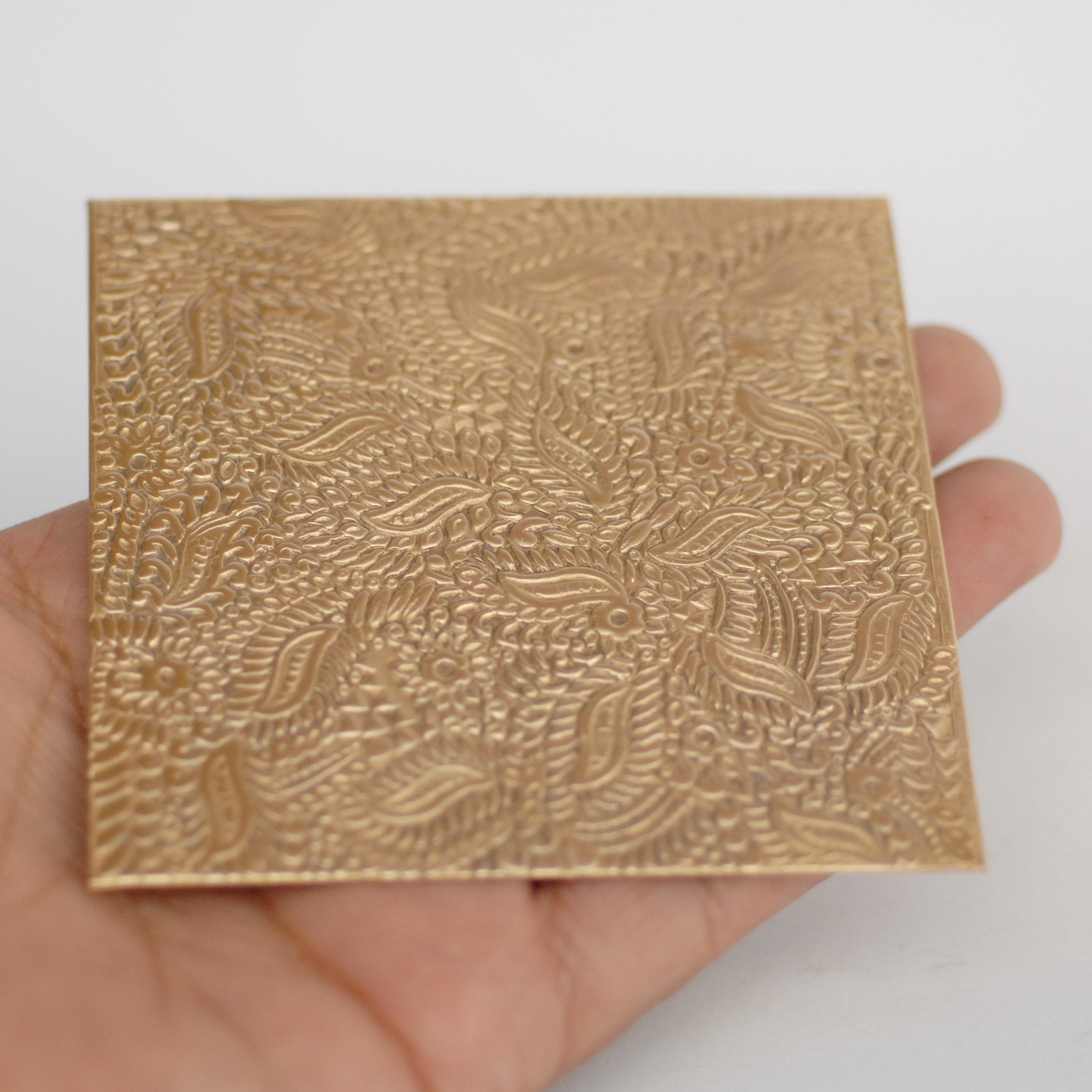 Buy Batik floral and leaves textured metal sheet - 3 inch x 3 inch online