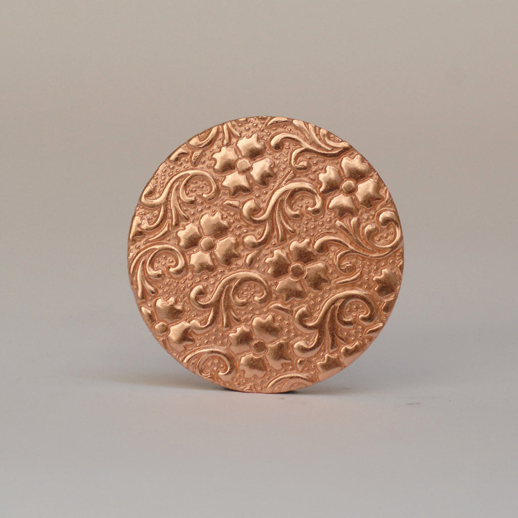 Solid copper round disc shape w/ batik floral flower texture metal blanks for earrings or for pendants