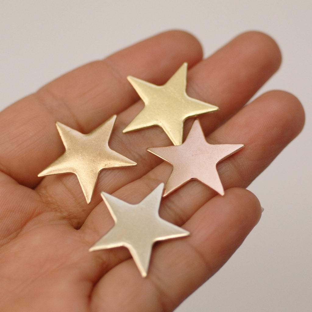Star shapes - metal blanks 23mm for jewelry making, copper, brass, bronze, or nickel