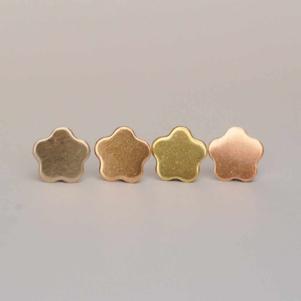 Small flower shapes 10.5mm solid copper, raw brass, pure bronze, nickel silver - for jewelry making