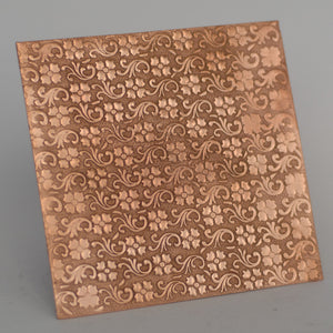 Batik flowers textured metal sheet - 3 inch x 3 inch