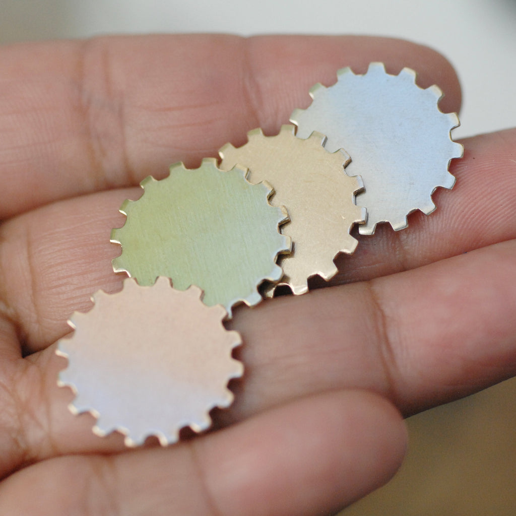 Watch gear shaped blanks 19mm small for making jewelry, copper, brass, bronze, nickel silver