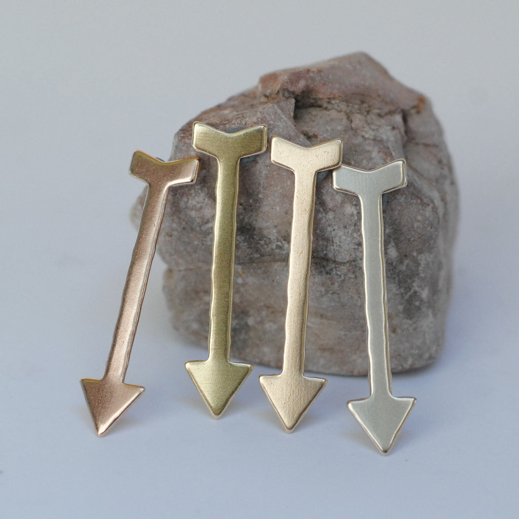 Long Arrow shapes 36mm x 9mm Cupid's Arrow copper, brass, bronze, nickel silver