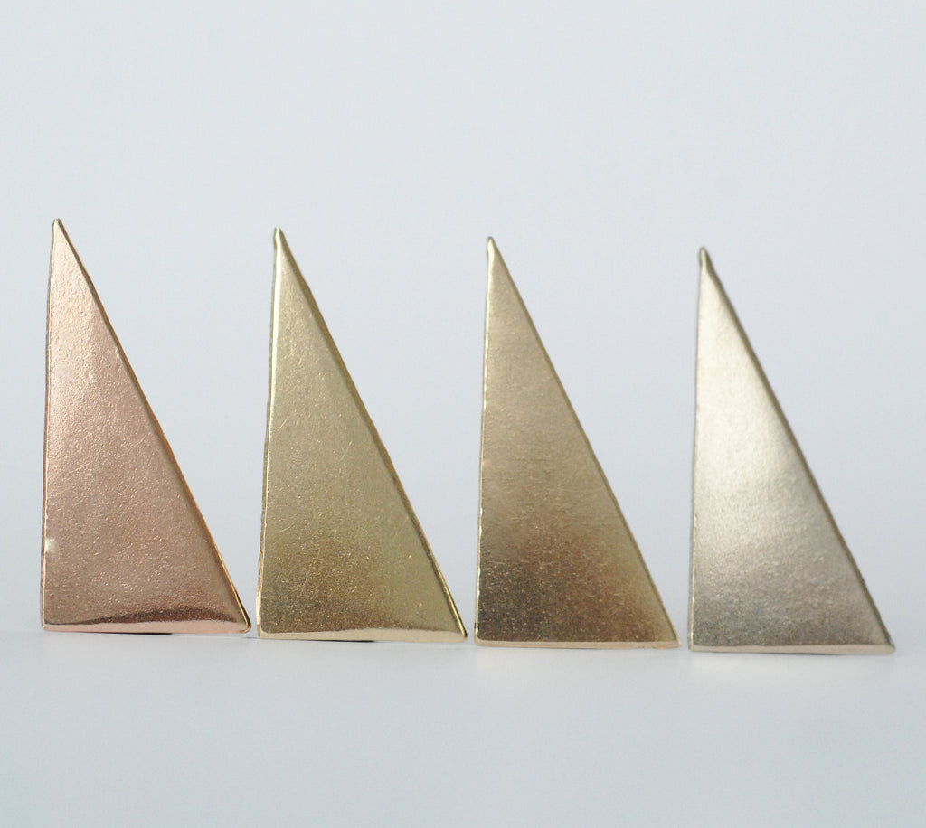 Geometric long Triangle shape 15mm x 30mm solid copper blanks for Enameling, raw brass, pure bronze, nickel silver, 24g 22g 20g