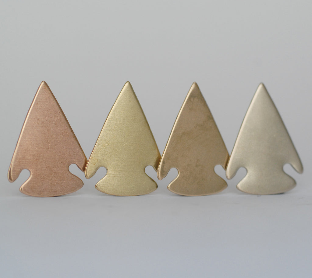 Arrow head shaped pendant blanks - Southwest design - copper, brass, bronze, nickel silver 24g 22g 20g