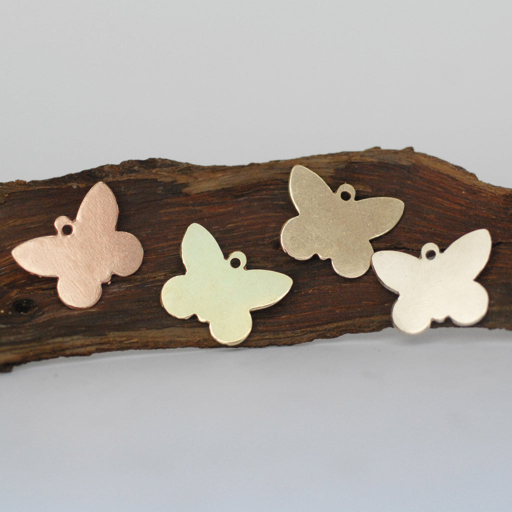 Butterfly charms for making jewelry, copper, brass, bronze, nickel silver 24g 22g 20g with hole
