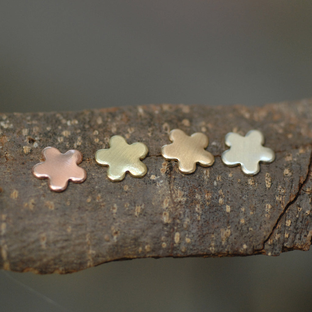 Tiny flower shapes for soldering mini 5 Petal flowers 9mm copper, brass, bronze, or nickel silver