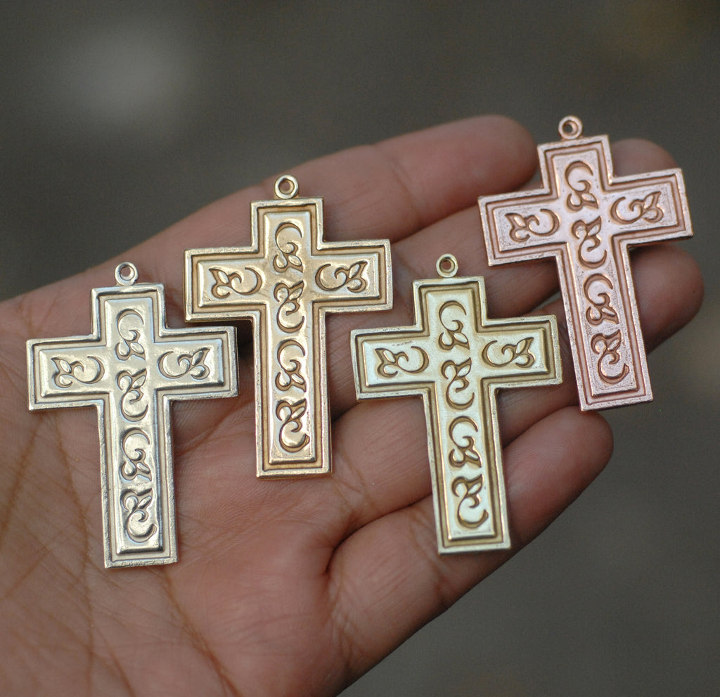 Cross shape Pendants for making jewelry, decorated with pattern and border, copper, brass, bronze, nickel silver
