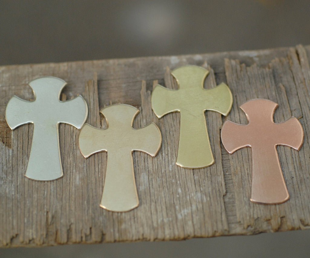 Medium Cross 43.5mm x 30.2mm pendant blanks for making jewelry, copper, brass, bronze, nickel silver 20g