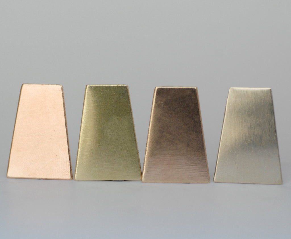 Trapezoid shapes 25mm x 18mm Mexican Silver Blank 24G 22G 20G copper, brass, bronze, nickel silver