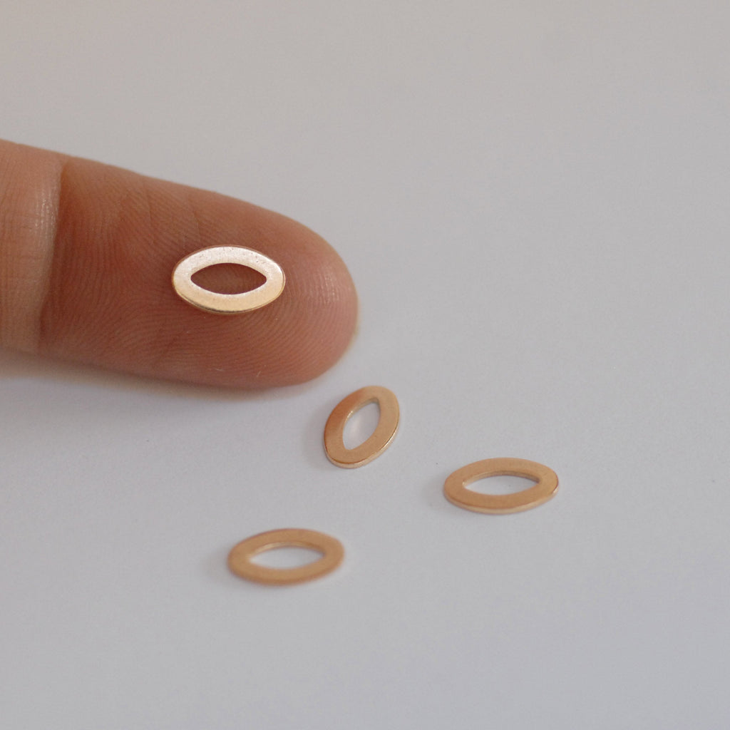 Tiny eye shaped donuts for making jewelry, earring charms, very small, copper, brass, bronze