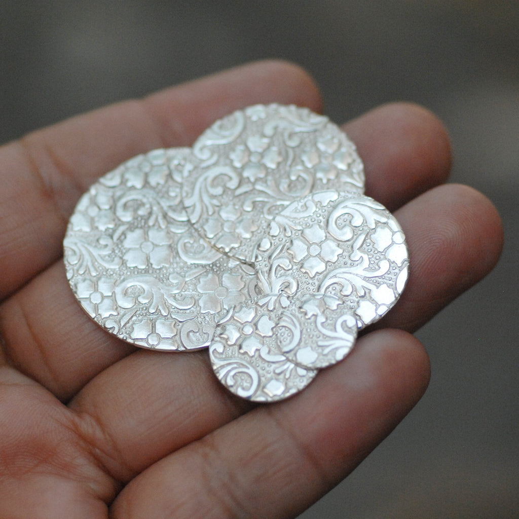 Batik floral texture Sterling Silver Discs for making jewelry 26g 24g 22g 10mm 15mm 20mm 25mm 30mm 35mm 40mm