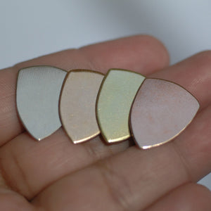 Rounded Shield 20mm x 16mm 24g 22g 20g copper, brass, bronze, nickel silver