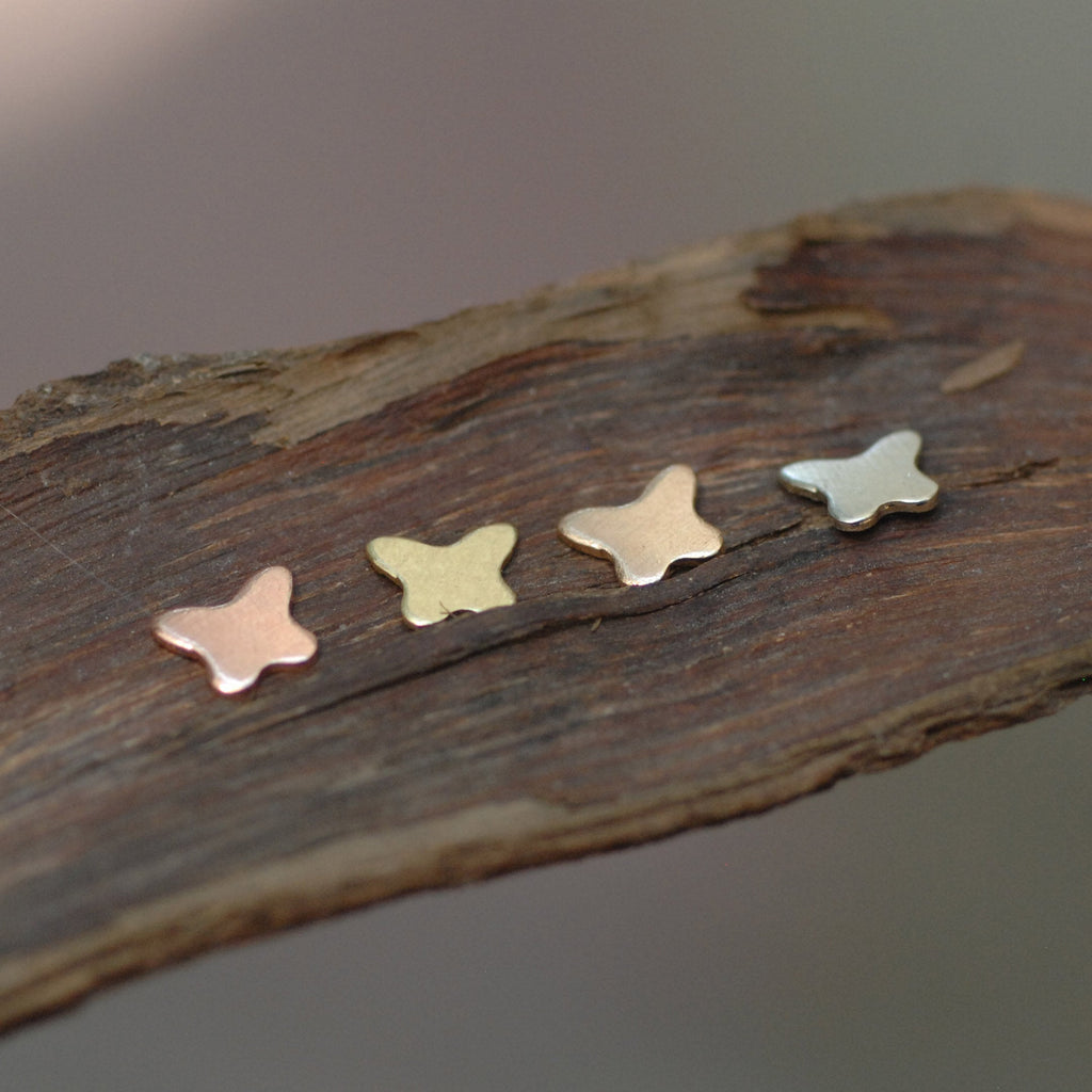 Tiny butterfly shapes, 24g 22g copper, brass, bronze, or nickel silver little butterflies
