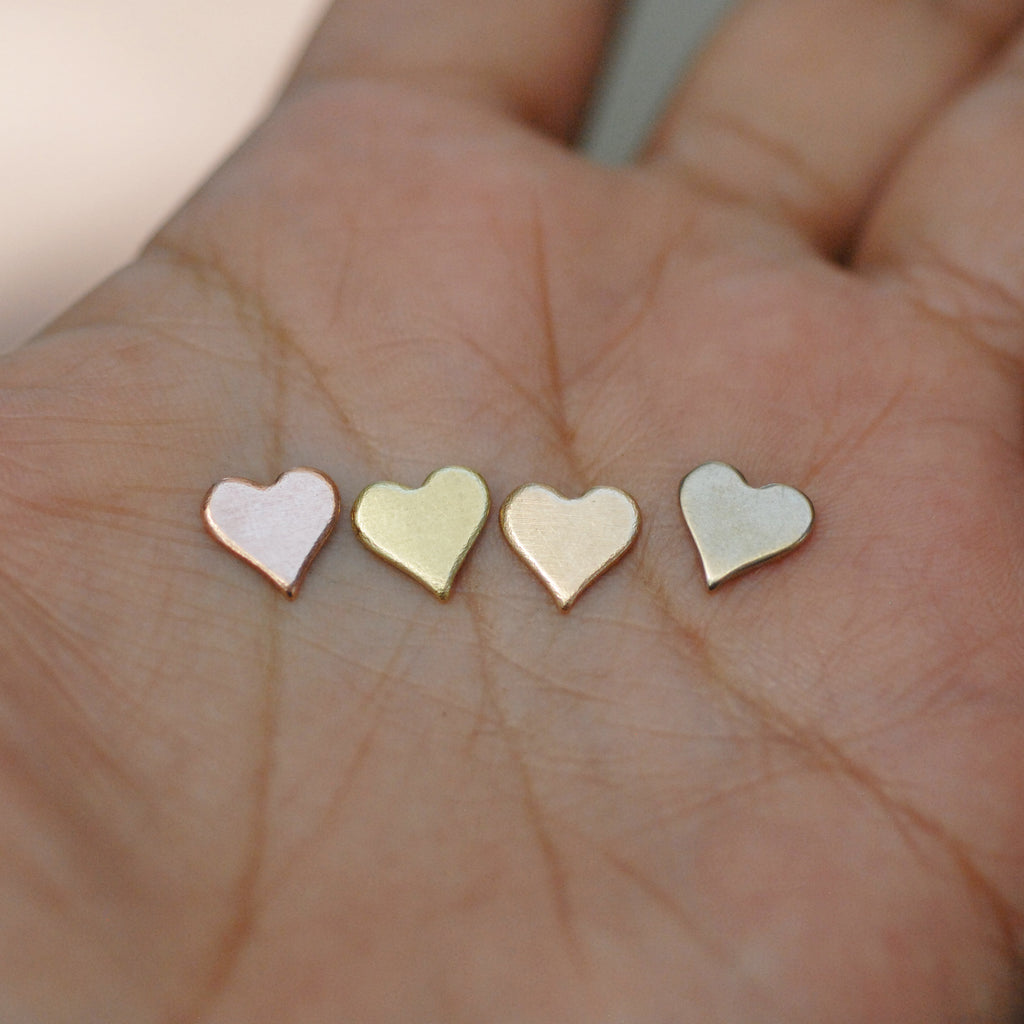 Tiny perfect heart shapes, copper, brass, bronze, nickel silver, Jewelry Making Mini shape, Valentine's day hearts