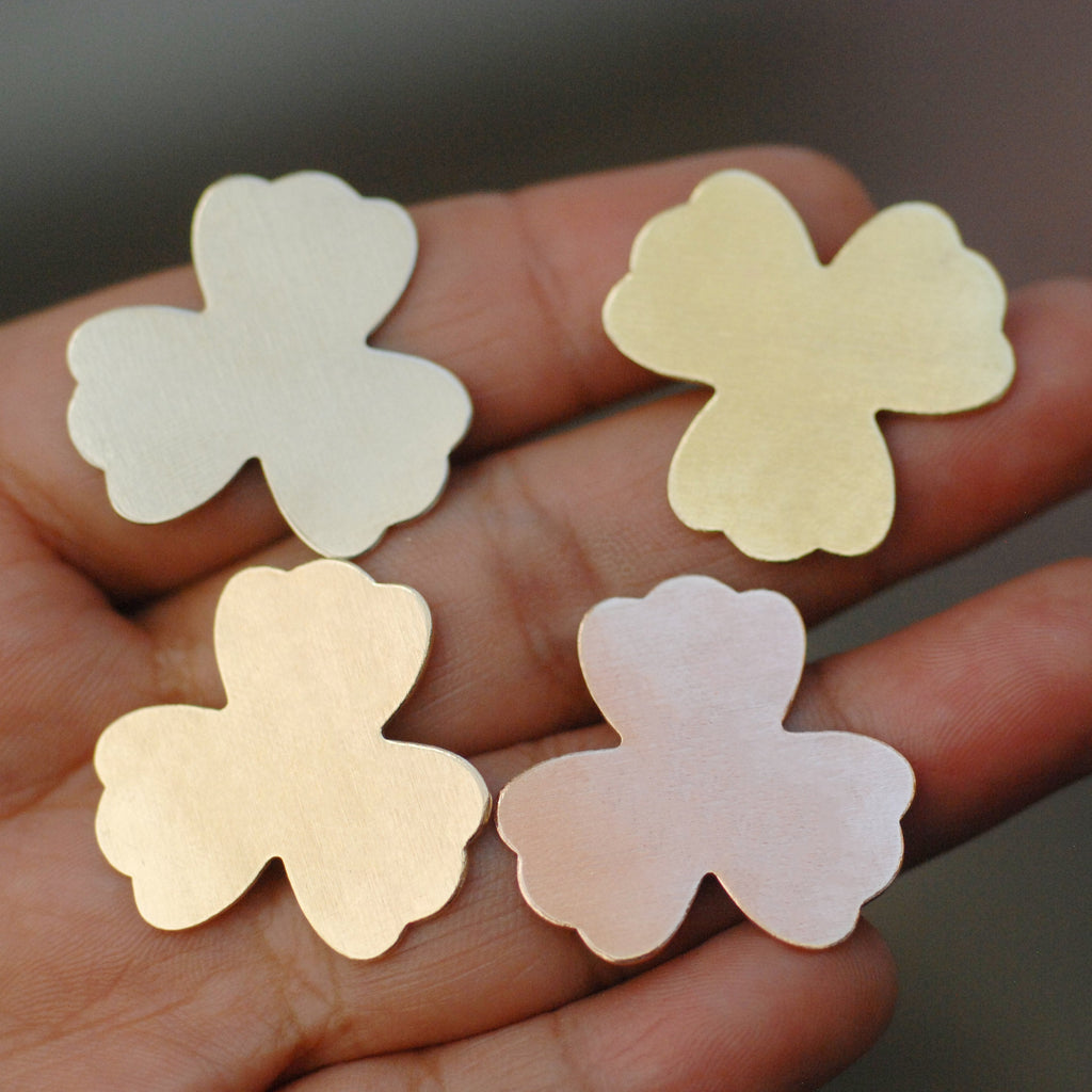 Clover flower shapes 24g 22g 20g copper, brass, bronze, nickel silver metal blanks for making jewelry