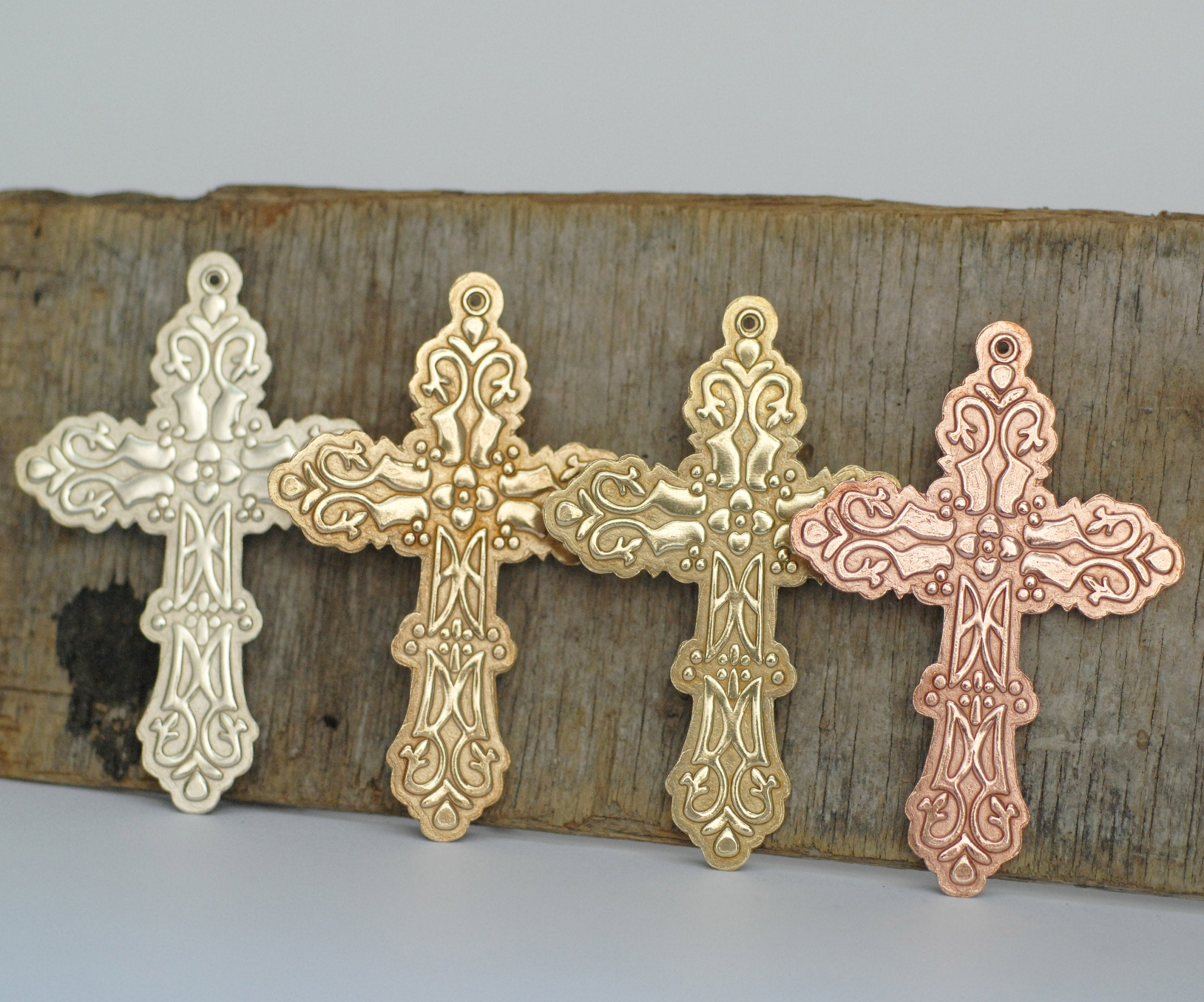 Cross pendant blank w/ floral texture Antique design, copper, brass, bronze, nickel silver 22g 20g with hole
