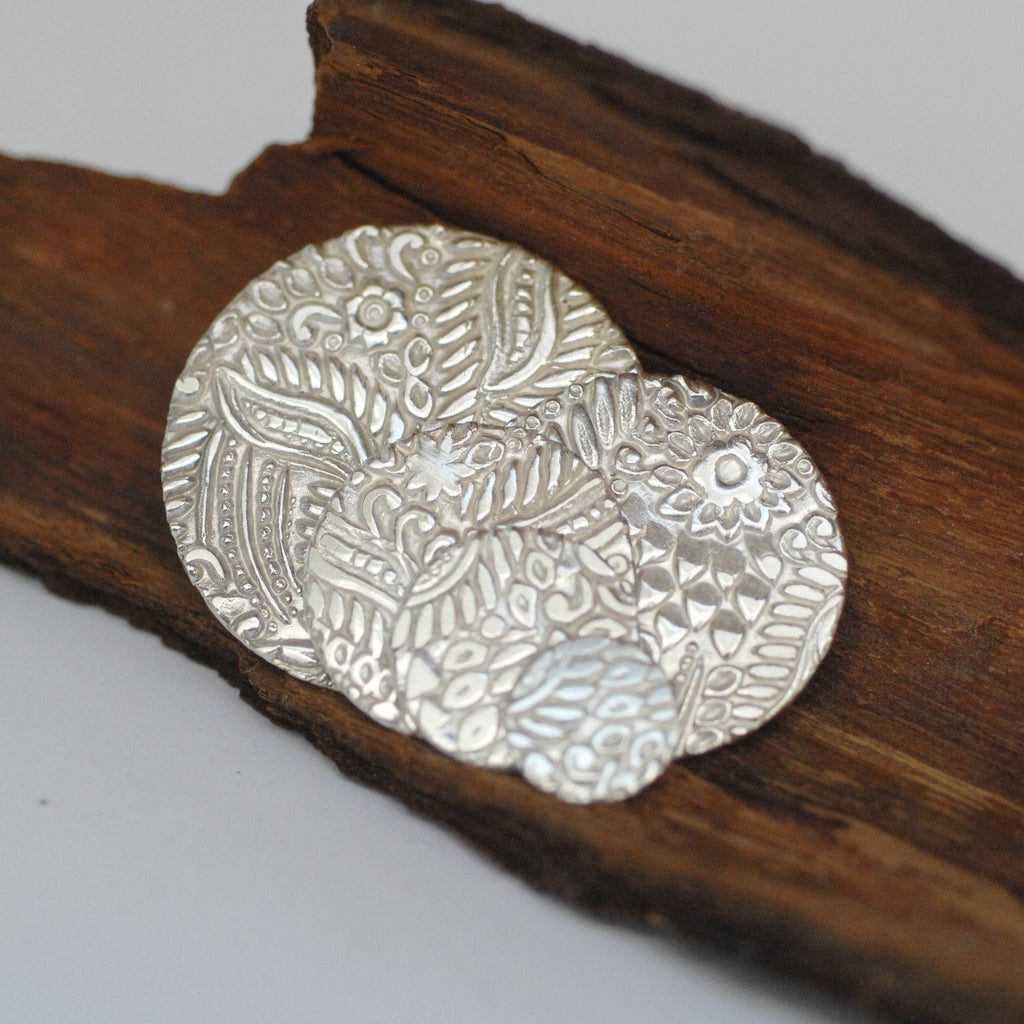Batik floral leaves texture Sterling Silver Discs for making jewelry 26g 24g 22g 10mm 15mm 20mm 25mm 30mm 35mm 40mm