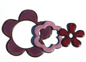 Moon Cheshire Woodgrain Pattern 20mm x 17.6mm for Blanks Enameling Stamping Texturing Soldering - 4 pieces