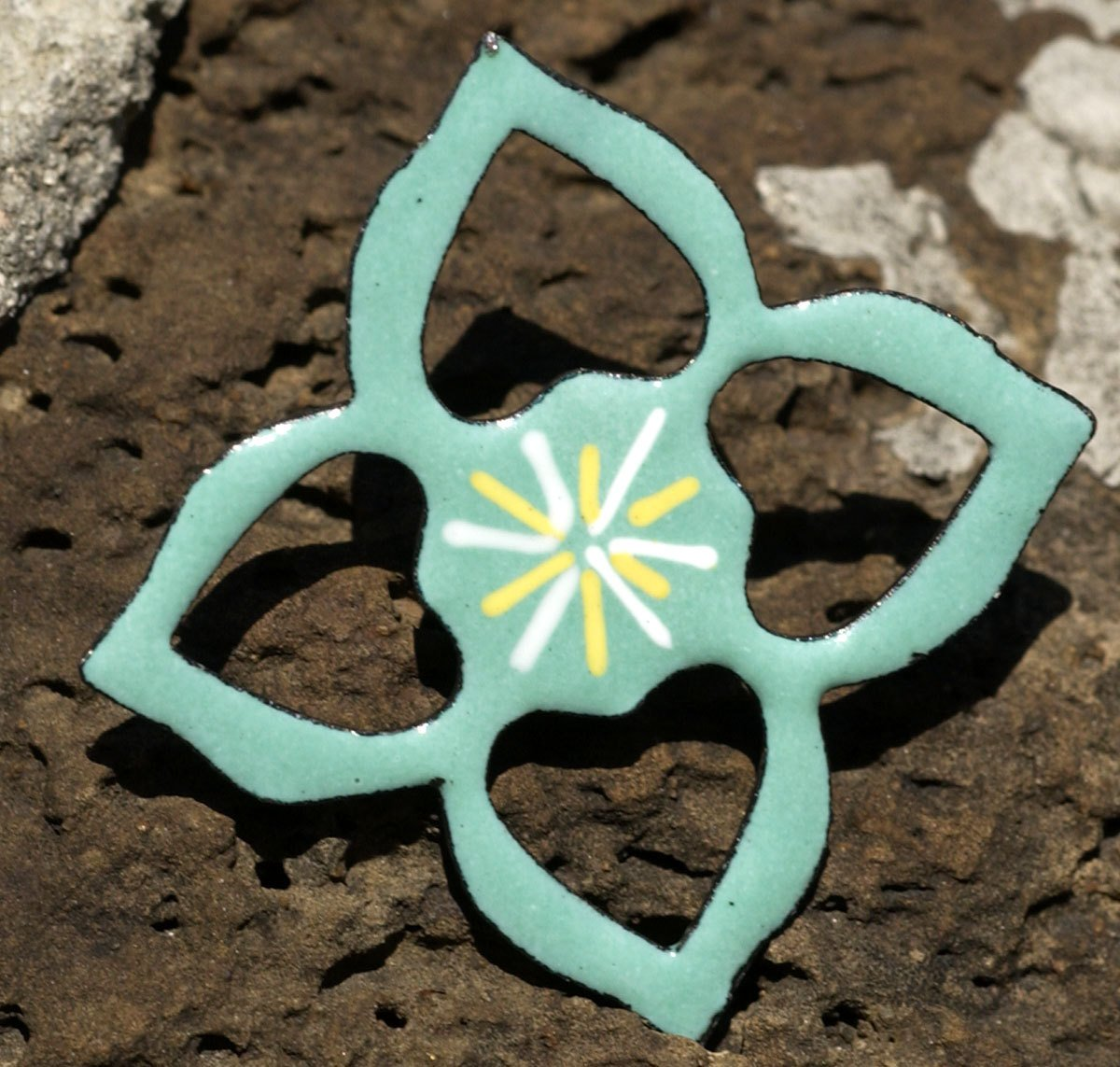 Copper Heart Flower 23mm Cutout for Enameling Stamping Texturing - 4 pieces