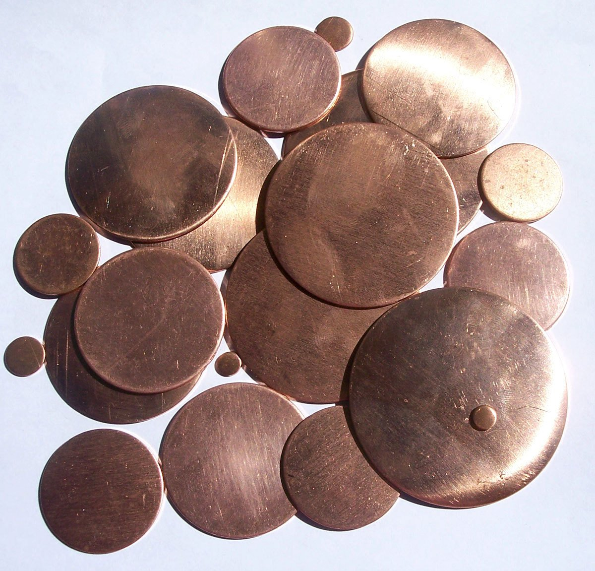 Round Stamping Blanks Copper Disc Blanks Cutout for Enameling Stamping Texturing - 14 pieces