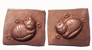 Copper  Pair of Kitty Cats- 3D shape for Enameling Jewelry Making Supplies - 2 pieces