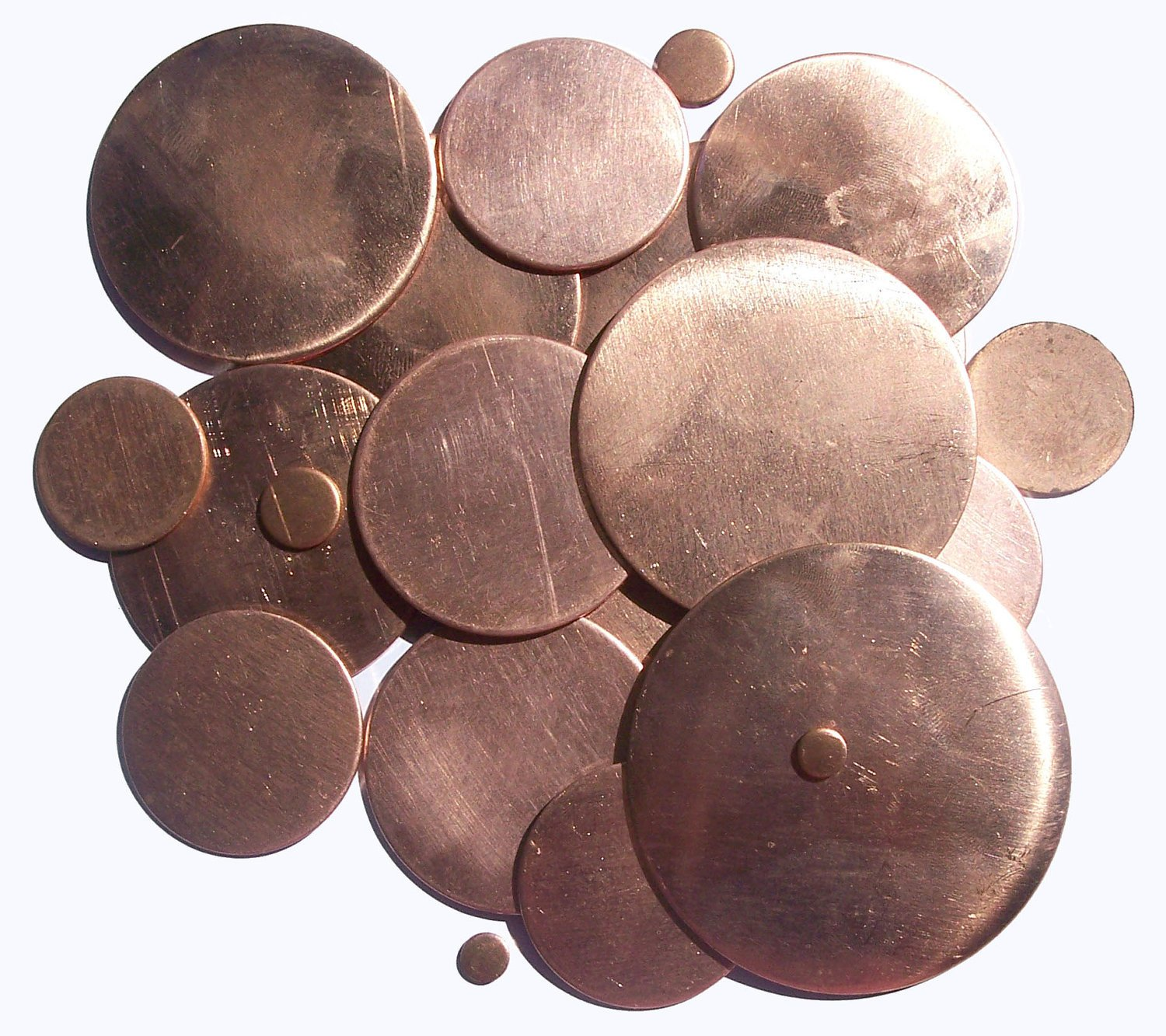 Jewelry Blank Copper Disc 20G 42mm Cutout for Enameling Stamping Texturing, Metal Charm - 3 Pieces