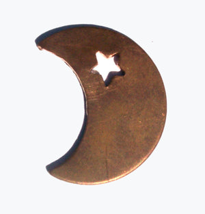 Copper Moon with Star 24g 29mm x 22.5mm  Blanks Cutout for Enameling Stamping Texturing 3/4 inch (DCH)