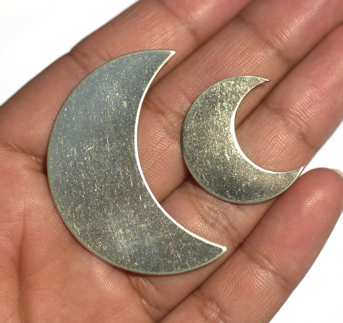 Buy Nickel Silver Large Luna Moon 45mm x 30mm 22g Metal Blanks Form Shape Charms for Texturing Soldering Jewelry Making Blank - 2 pieces online