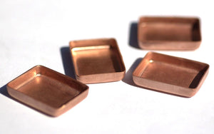 Copper Bezel Cups - 24g 28 x 22mm Rectangle Blanks Cutout for Enameling - 4 Pieces