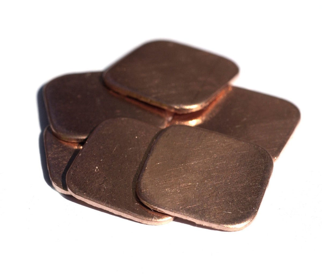 Copper Square Blank Small Rounded 16mm 24G for Blanks Enameling Stamping Texturing