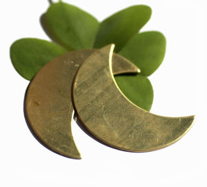 Brass Blank Moon Fantastica Luna 45mm x 30mm Metal Blanks Shape Form, Metalworking Supplies, Enameling Blank - 2 Pieces