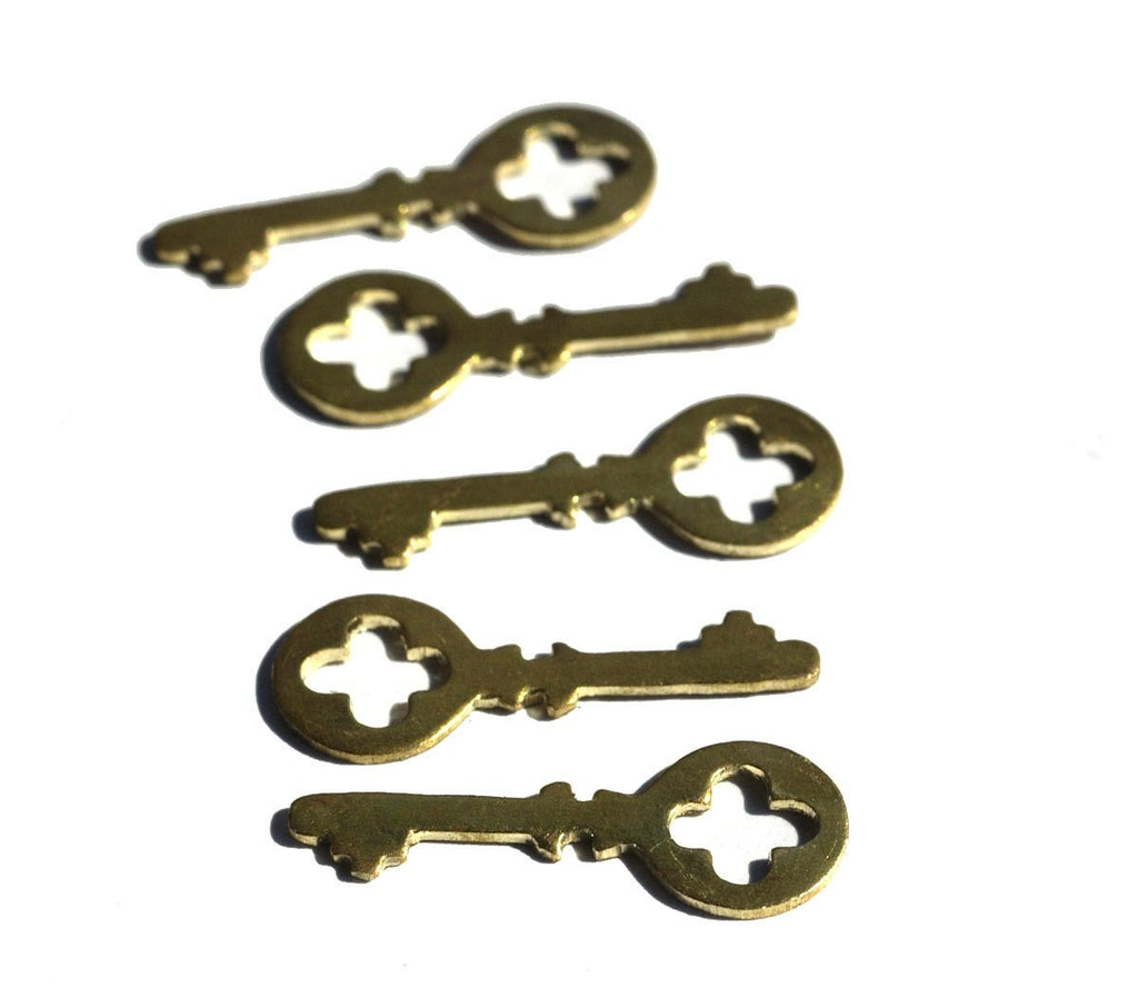 Brass Blank Key Cross Skeleton Mini  27mm x 10mm Cutout for Blanks Metalwork Soldering Stamping Texturing - 8 pieces