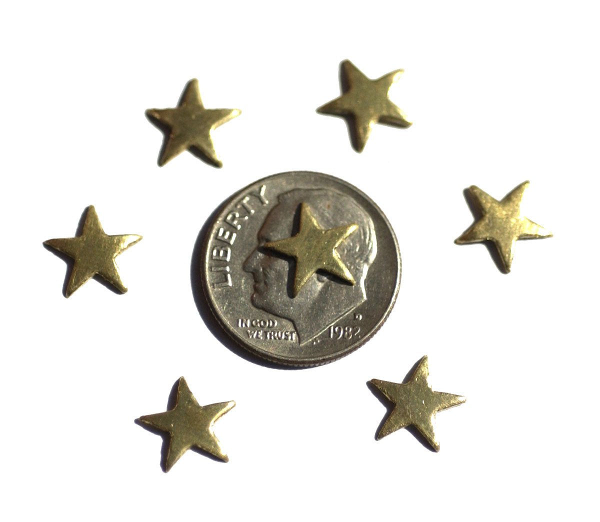 Small Star Blank Brass 10mm for Soldering Stamping Texturing  - 8  Pieces