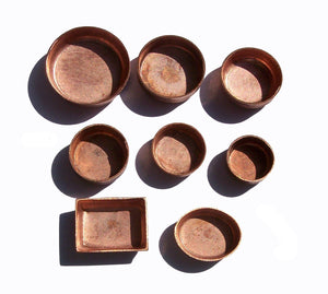 Copper Bezel Cups Oval Blanks - 28g - 6.8mm x 8.9mm Outside Dimension, 2.2mm tall for Enameling - 6 pieces