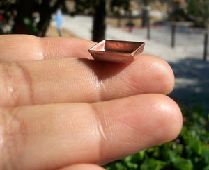 Copper Rectangle Bezel Cups Blank 24g 13mm x 11mm OD, 4mm tall for Enameling Soldering Metalworking Blanks