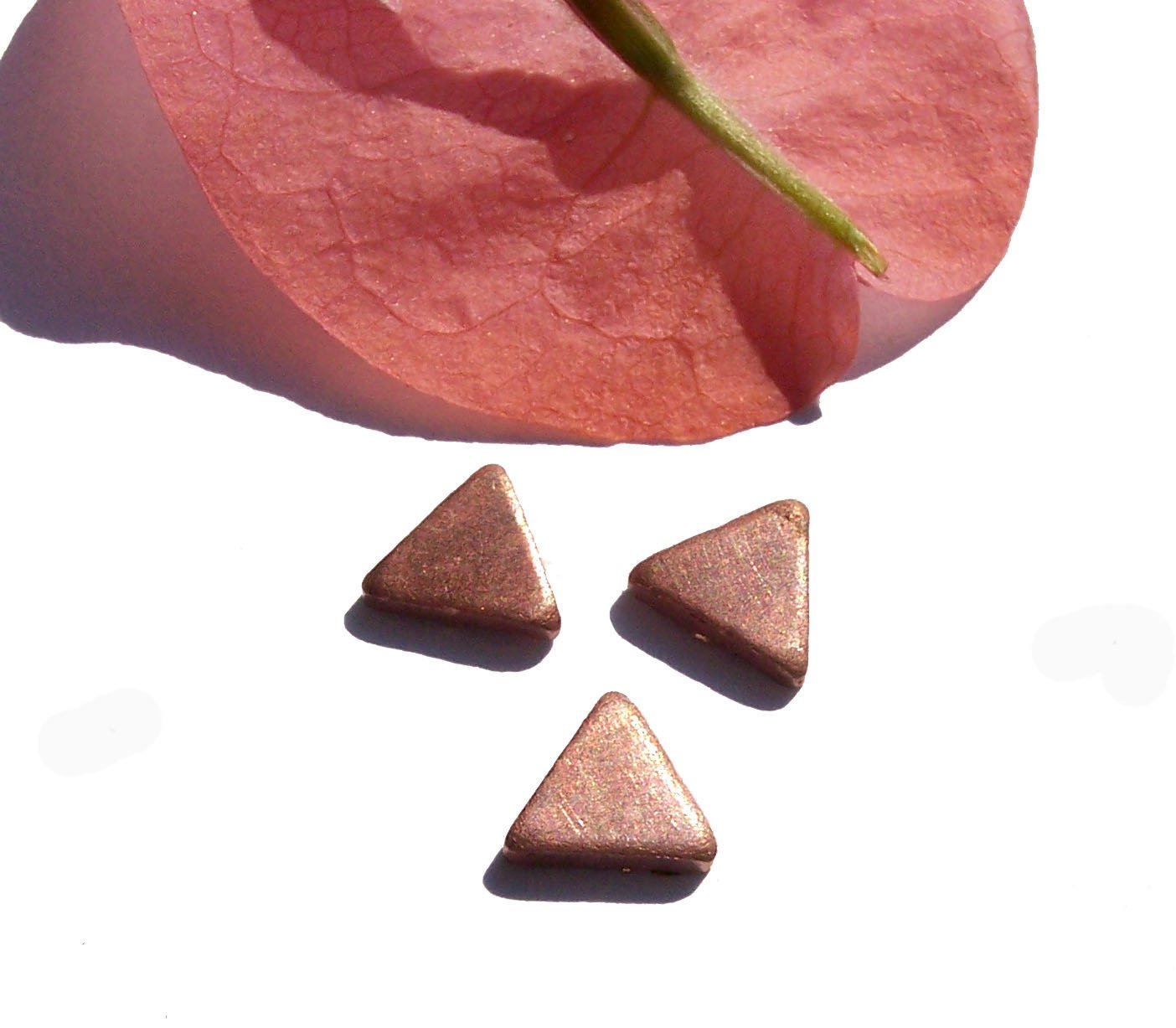 Copper Triangles Blank 6mm for Enameling Stamping Texturing Soldering Blanks - 10 pieces