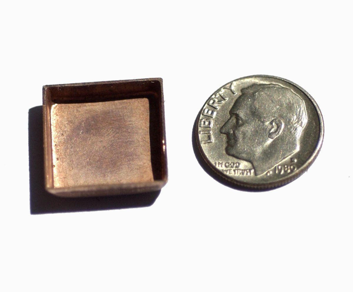 Copper Bezel Cups - 24g - 17mm Square Blanks Cutout for Enameling - 4 pieces
