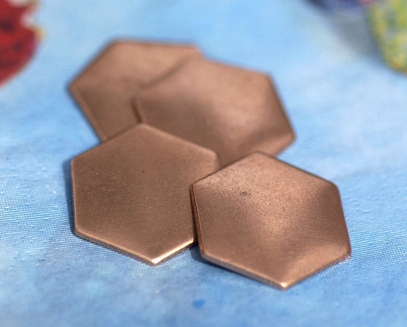 Buy Copper Hexagons Blanks 20g 16mm Cutout for Enameling Stamping Texturing copper Blanks 4 pieces online