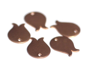 Copper Tulip Bud 16mm x 12mm 20g with Hole Blank Cutout for Enameling Stamping Texturing - 6 Pieces