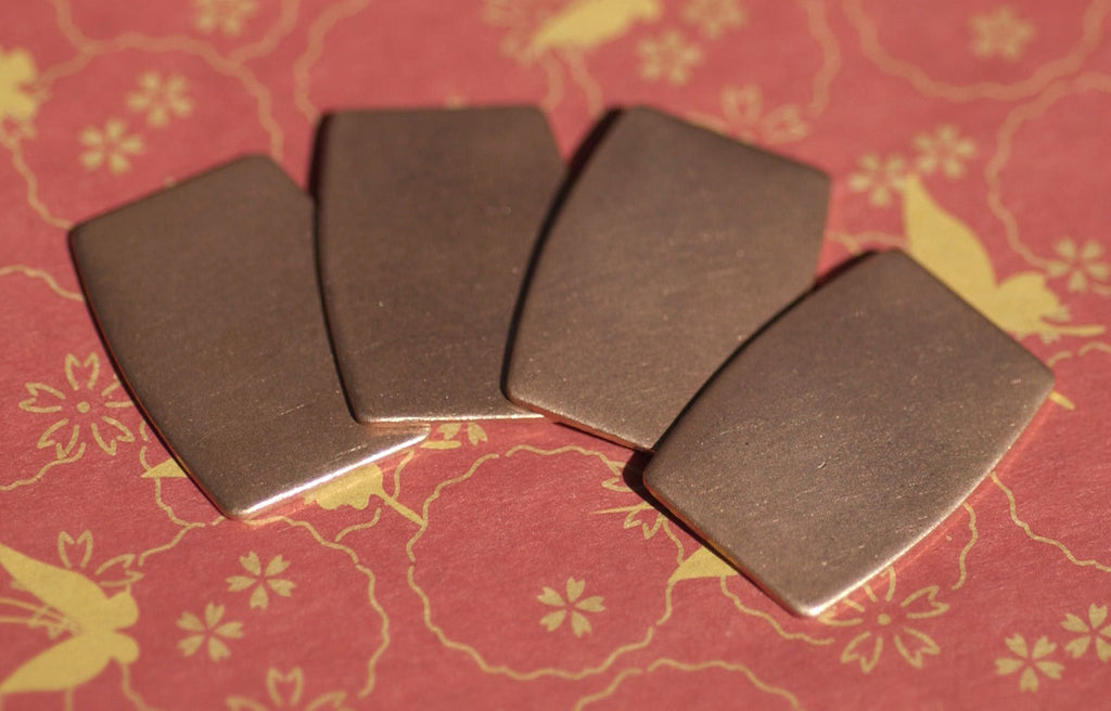 Barrel Rounded Rectangle Blanks Flat 26mm x 19mm 22g for Enameling Stamping Texturing Blank - 4 pieces