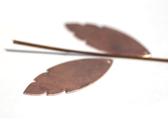 Buy Copper or Brass or Bronze Leaf 47mm x 19mm 20g with Hole Blank Cutout for Enameling Stamping Texturing - 4 pieces online