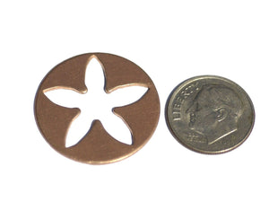 Copper Blanks Flower 5 Petal 25mm 20g for Enameling Stamping Texturing Blank - 4 pieces
