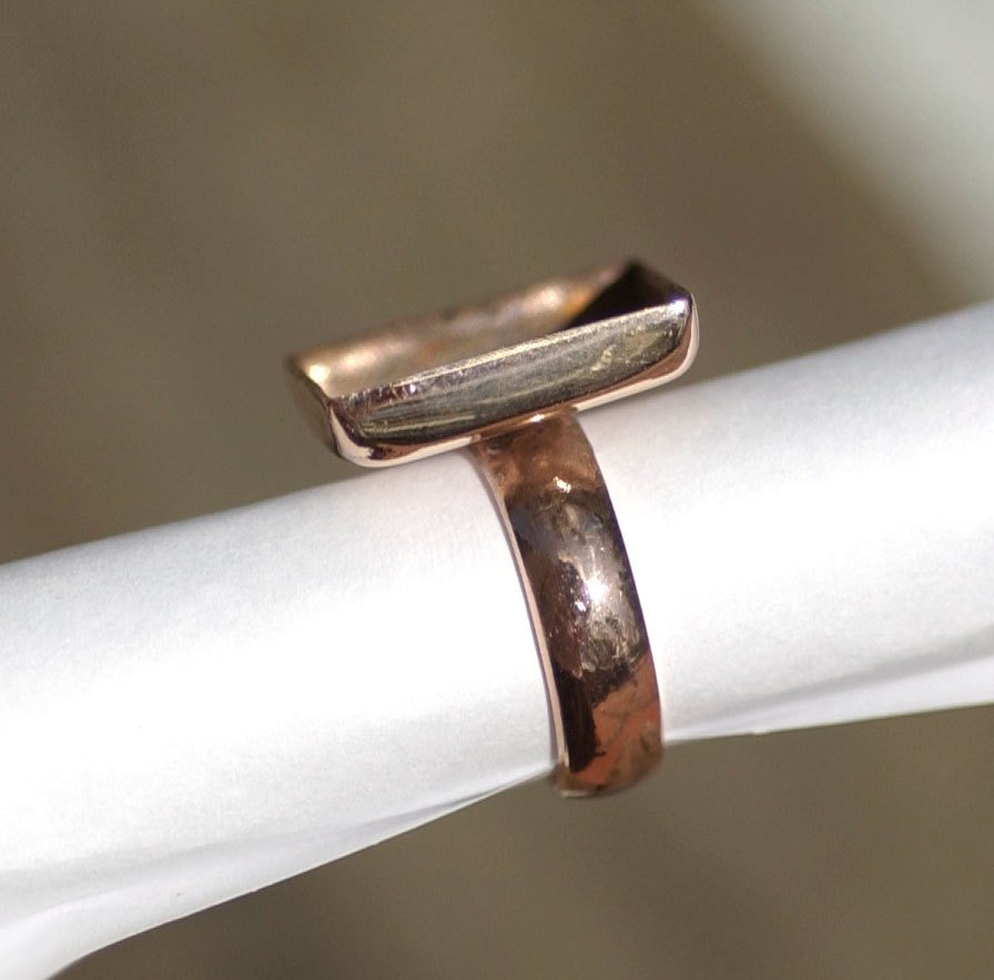 Copper Ring Square Bezel Cup Ring for Resin Gluing or Setting  - Size 4 3/4