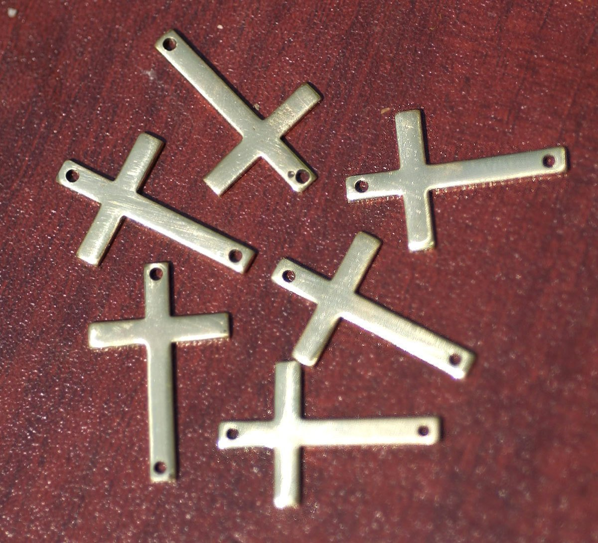 Brass or Bronze 21mm x 14mm 20g Blank Classic Religous Cross with hole Blanks Cutout for Enameling Stamping Texturing - 6 pieces