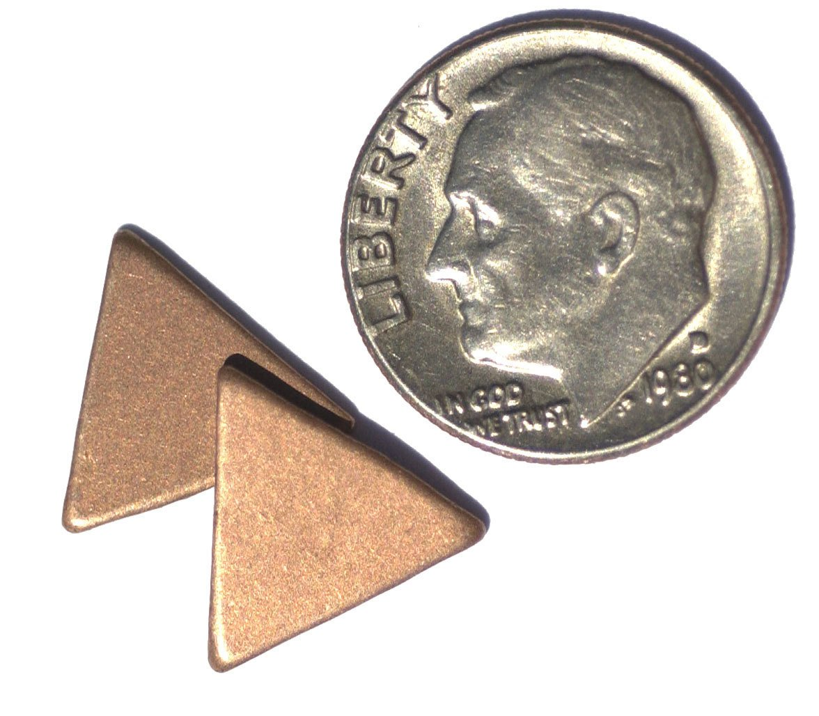 Triangle 12mm  for Enameling Stamping Texturing Soldering Blanks - Variety of Metals  10 pieces