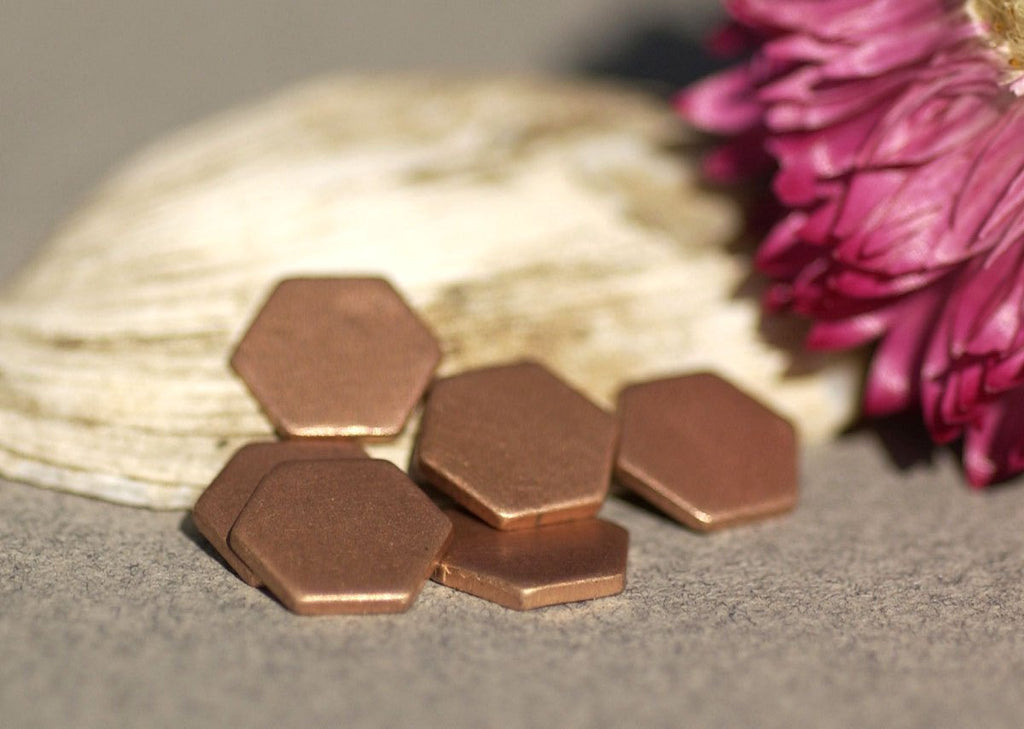 Copper Hexagon 20g 8mm Blanks Cutout for Enameling Stamping Texturing -  8 pieces