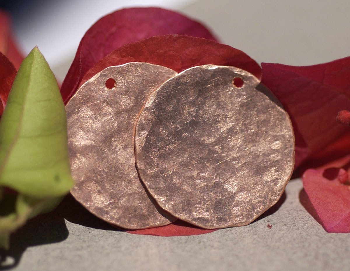 Hand Hammered Copper Disc 26G 26mm Blanks Cutout for Enameling Stamping Texturing - 4 Pieces